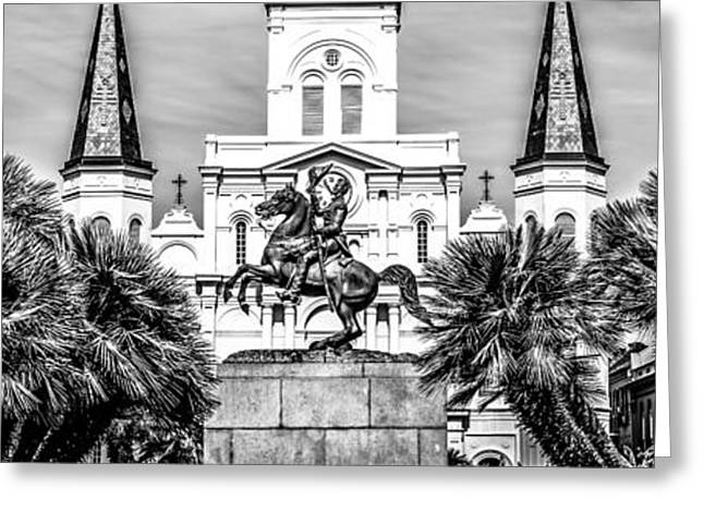 Roman Statue Greeting Cards - New Orleans St. Louis Cathedral Panorama Photo Greeting Card by Paul Velgos