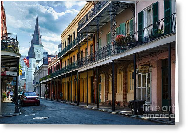 South Street Greeting Cards - New Orleans Street Greeting Card by Inge Johnsson