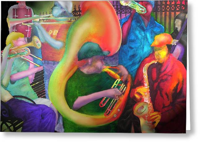 Improvisation Greeting Cards - New Orleans Street Jazz Greeting Card by Larry Rice