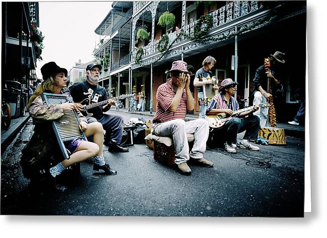 Steer Greeting Cards - New Orleans Street Musicians Greeting Card by Mountain Dreams