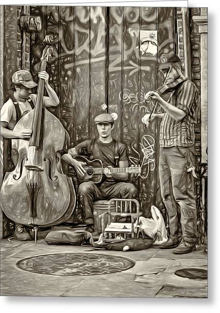 Pottier Greeting Cards - New Orleans Street Musicians - Paint bw Greeting Card by Steve Harrington