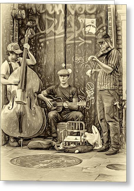Pottier Greeting Cards - New Orleans Street Musicians - Paint sepia Greeting Card by Steve Harrington