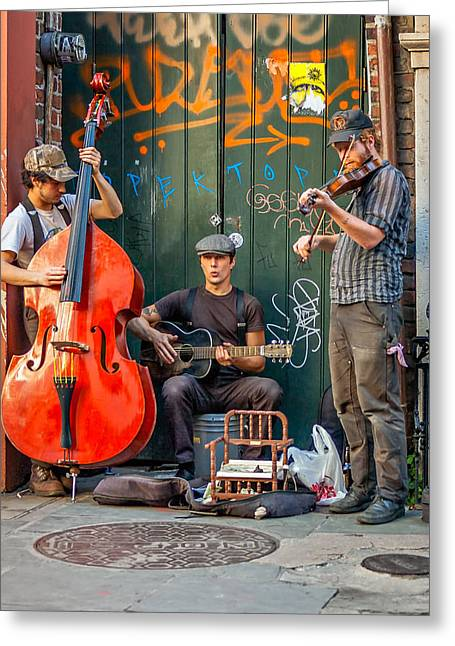 Street Performers Greeting Cards - New Orleans Street Musicians Greeting Card by Steve Harrington