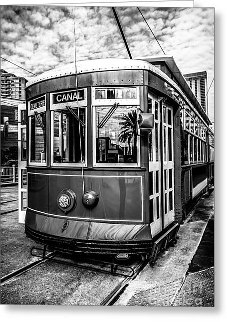 French Quarter Photographs Greeting Cards - New Orleans Streetcar Black and White Picture Greeting Card by Paul Velgos