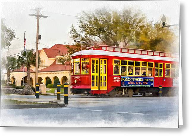 Canal Street Greeting Cards - New Orleans Streetcar paint Greeting Card by Steve Harrington