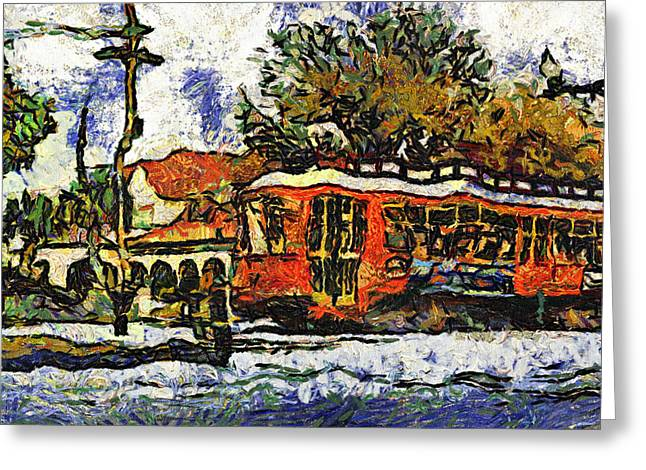 Canal Street Greeting Cards - New Orleans Streetcar paint vg Greeting Card by Steve Harrington