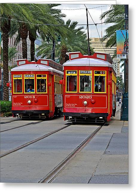 Trolley Greeting Cards - New Orleans Streetcars Greeting Card by Christine Till