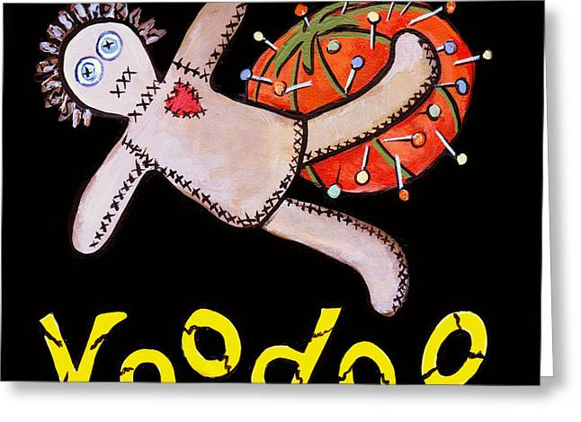 Pin Cushion Greeting Cards - New Orleans Voodoo Black Greeting Card by Elaine Hodges