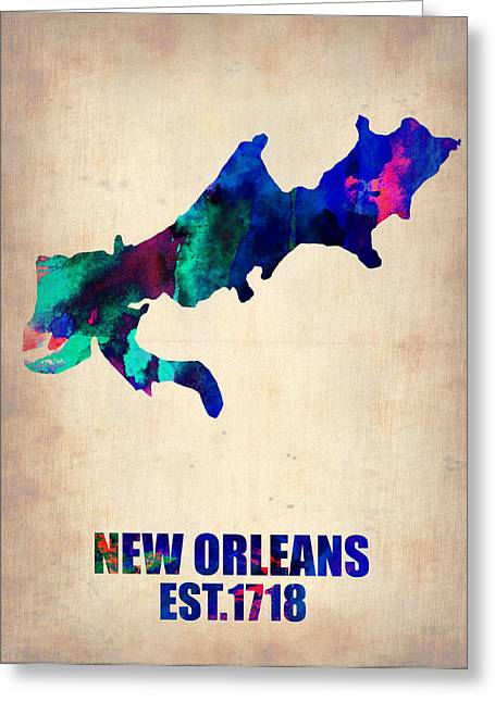 Usa City Map Greeting Cards - New Orleans Watercolor Map Greeting Card by Naxart Studio