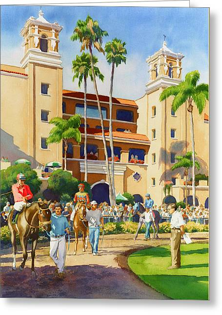 Jockey Greeting Cards - New Paddock at Del Mar Greeting Card by Mary Helmreich