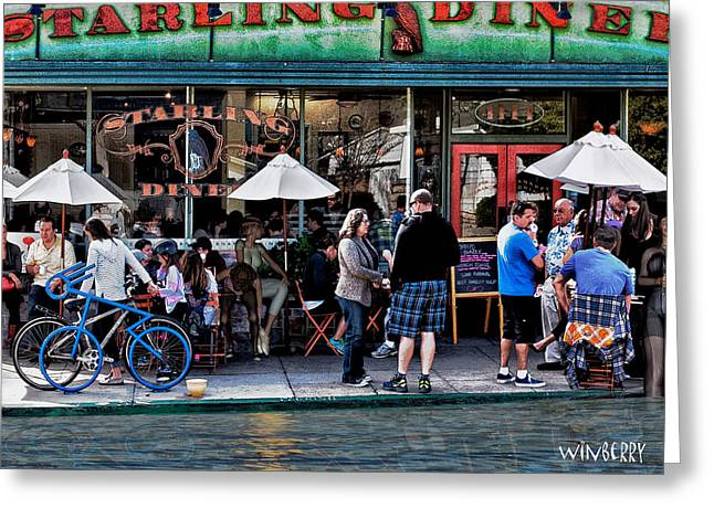 Flooding Digital Art Greeting Cards - People are Flooding to the Starling Diner Greeting Card by Bob Winberry