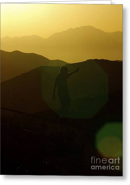 California Art Greeting Cards - NEW Photographic Art Print For Sale Boy Playing In The Sun At Joshua Tree National Park Greeting Card by Toula Mavridou-Messer