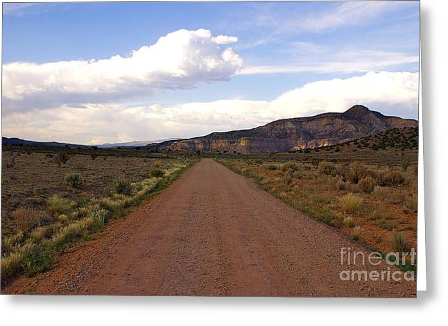 Red Road From The Benedictine Abbey Of Christ In The Desert New Mexico  Greeting Card by Toula Mavridou-Messer