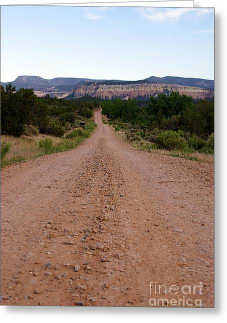 New Photographic Art Print Road From The Benedictine Abbey Of Christ In The Desert New Mexico Greeting Card by Toula Mavridou-Messer