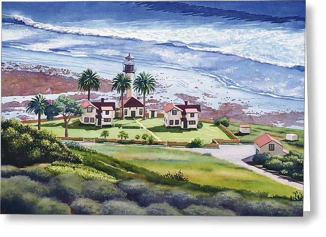 California Lighthouse Greeting Cards - New Point Loma Lighthouse Greeting Card by Mary Helmreich