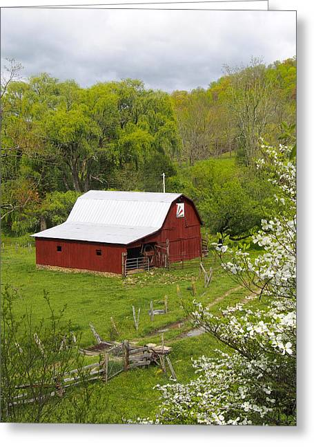 Barn Digital Greeting Cards - New Red Paint 2 Greeting Card by Mike McGlothlen