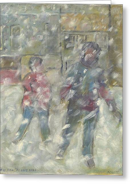 Kingston Paintings Greeting Cards - New Rink at City Hall Greeting Card by David Dossett