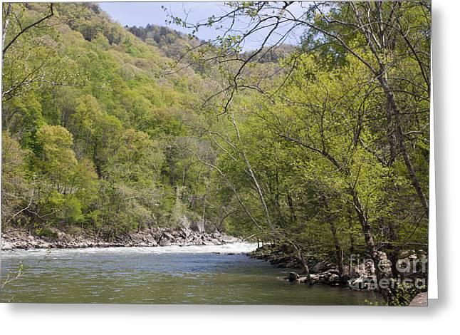U.s. Steel Greeting Cards - New River Bend Greeting Card by Teresa Mucha