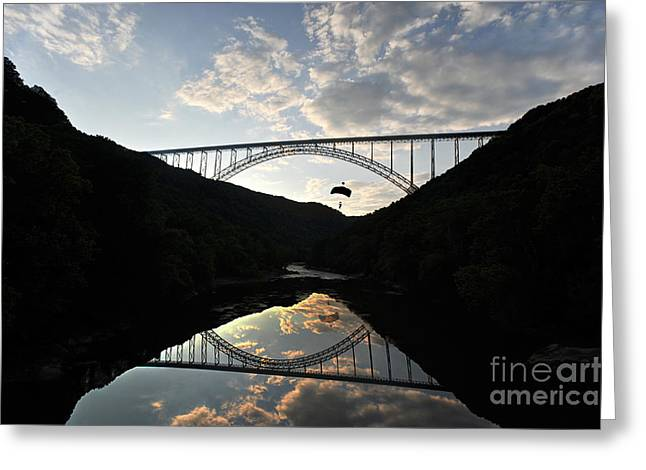 New River Bridge -  Base Jumper Greeting Card by Dan Friend