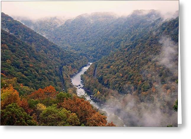 Landscape Posters Greeting Cards - New River from the outlook point Greeting Card by Chris Flees