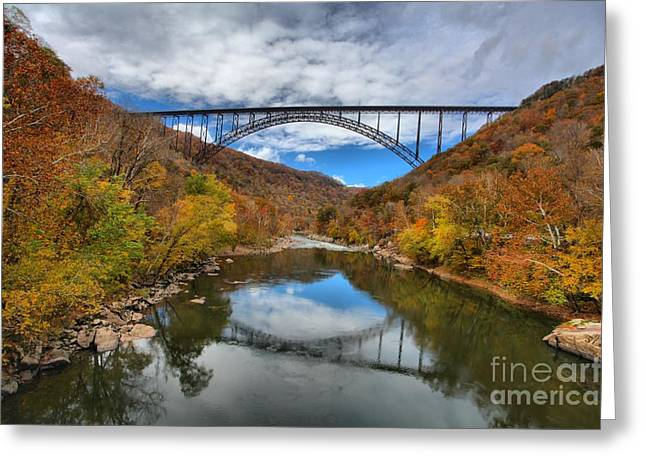 Famous Bridge Greeting Cards - New River Gorge Bridge Afternoon Reflections Greeting Card by Adam Jewell