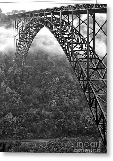New West Greeting Cards - New River Gorge Bridge Black and White Greeting Card by Thomas R Fletcher