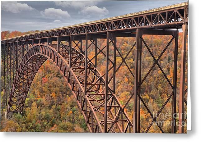 Famous Bridge Greeting Cards - New River Gorge Bridge Fall Foliage Greeting Card by Adam Jewell