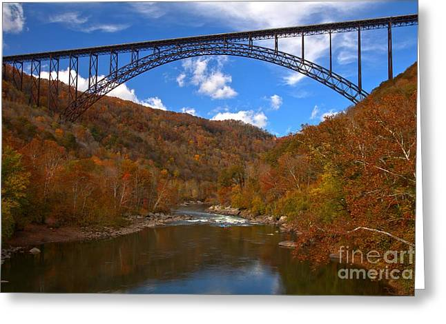 Famous Bridge Greeting Cards - New River Gorge Fiery Fall Colors Greeting Card by Adam Jewell