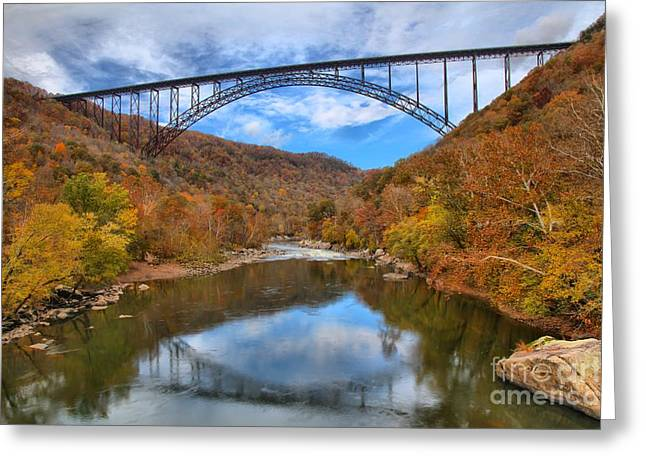 Famous Bridge Greeting Cards - New River Gorge Reflections Greeting Card by Adam Jewell