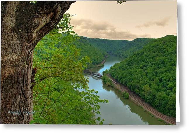Most Popular Photographs Greeting Cards - New River Railroad Bridge at Hawks Nest  Greeting Card by Paulette B Wright