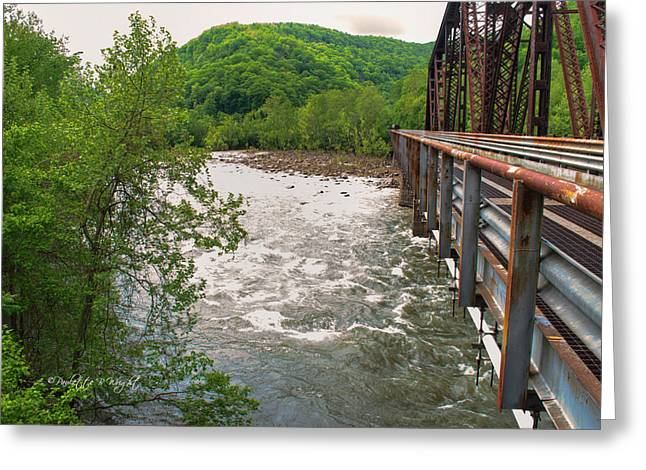 Steel Water Feature Greeting Cards - New River Rapids Flow Under The Bridge At Thurmond Greeting Card by Paulette B Wright