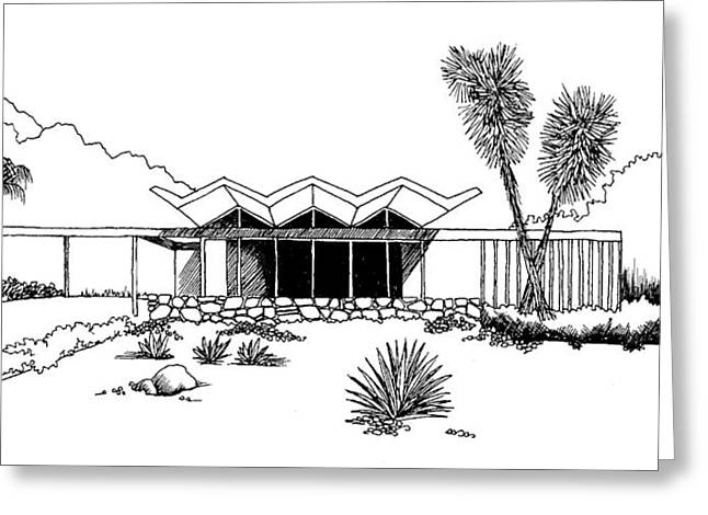 Winter Photos Drawings Greeting Cards - New Riviera Gardens-Steel House Greeting Card by Robert Cullison