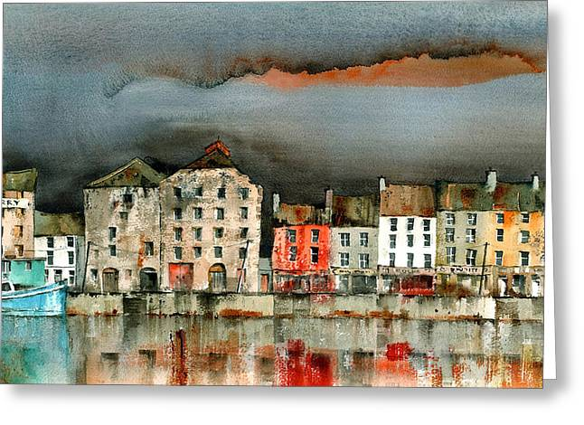 Tour Ireland Greeting Cards - New Ross Quays Wexford Greeting Card by Val Byrne