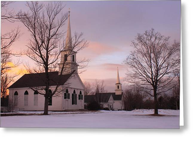 Meetinghouse Photographs Greeting Cards - New Salem Town Common Winter Sunset Greeting Card by John Burk