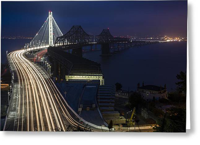 Treasures Greeting Cards - New San Francisco Oakland Bay Bridge Greeting Card by Adam Romanowicz