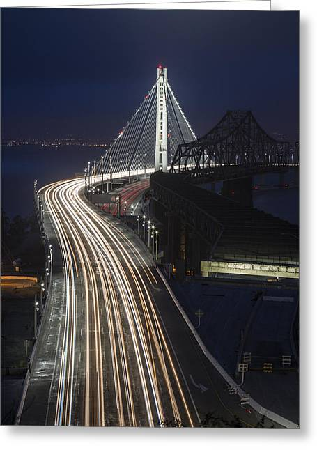 Treasures Greeting Cards - New San Francisco Oakland Bay Bridge Vertical Greeting Card by Adam Romanowicz
