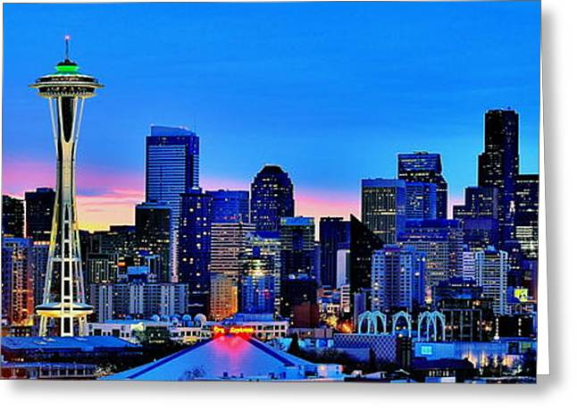 Seattle Skyline Greeting Cards - New Seattle Day Greeting Card by Benjamin Yeager