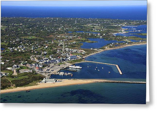 Oblique Greeting Cards - New Shoreham, Block Island Greeting Card by Dave Cleaveland
