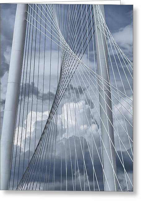 Landmark And Bridges Greeting Cards - New Skyline Bridge Greeting Card by Joan Carroll