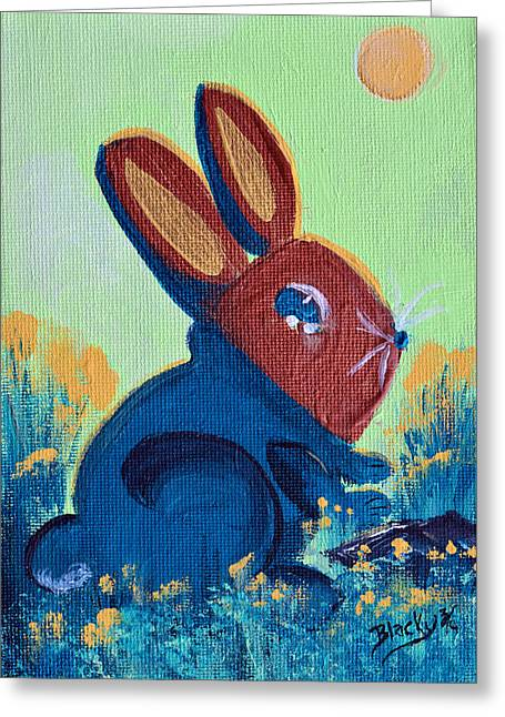 Bunny Greeting Cards - New Spring Sweater Greeting Card by Donna Blackhall