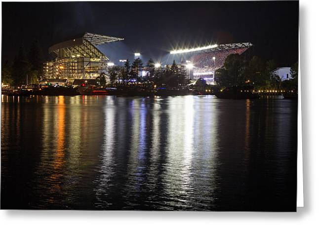 Recently Sold -  - Husky Greeting Cards - New Stadium Reflection Greeting Card by Max Waugh