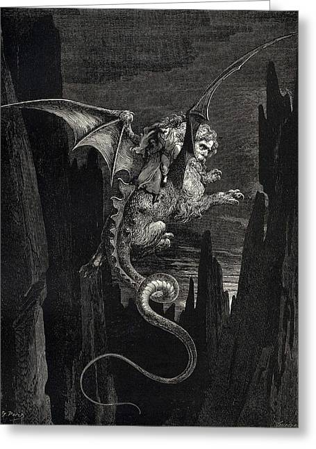 Dore Digital Greeting Cards - New Terror I conceived from Dantes Inferno Greeting Card by Gustave Dore