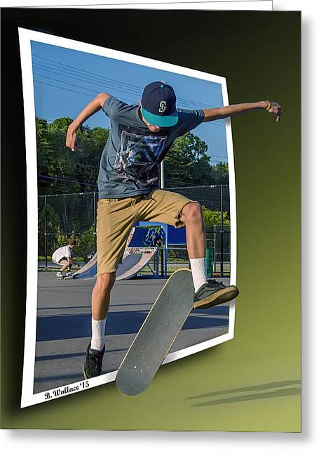 Skateboarding Digital Greeting Cards - New Trick - OOF Greeting Card by Brian Wallace