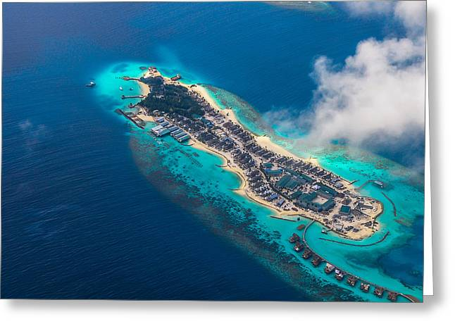 Unique View Greeting Cards - New Upcoming Resort 1.  Aerial Journey over Maldives Greeting Card by Jenny Rainbow