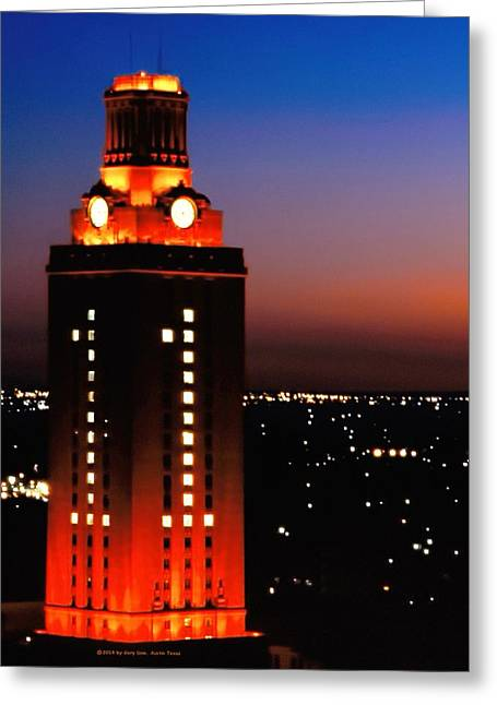 Ut Tower Greeting Cards - New Version of the UT Tower Greeting Card by Gary Dow