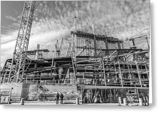 Construction Site Greeting Cards - new Vikings stadium under construction Greeting Card by Jim Hughes