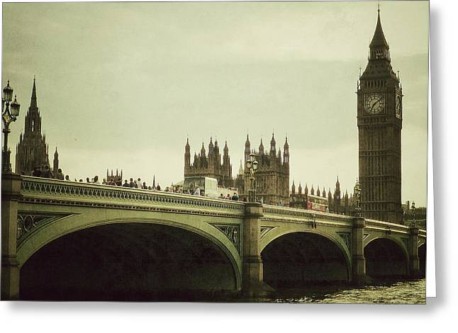 Famous Bridge Greeting Cards - New Westminster Bridge - London Greeting Card by Connie Handscomb