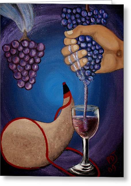 Wine Pour Paintings Greeting Cards - New Wine Greeting Card by Pamorama Jones