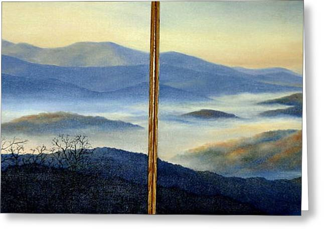 Smokey Mountains Paintings Greeting Cards - New World Greeting Card by Mary Taglieri