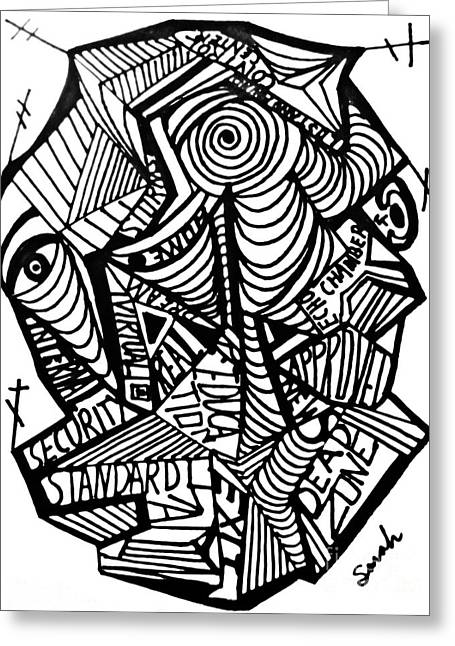 Maze Drawings Greeting Cards - New World Order Greeting Card by Sarah Loft